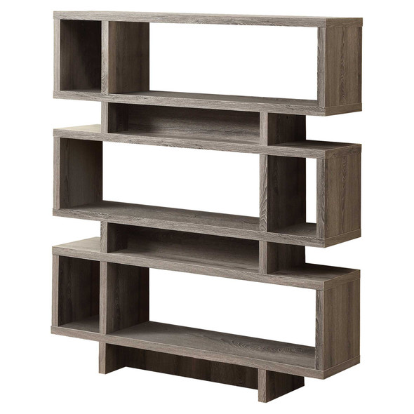"12"" x 47.25"" x 54.75"" Dark Taupe, Particle Board, Hollow-Core - Bookcase"