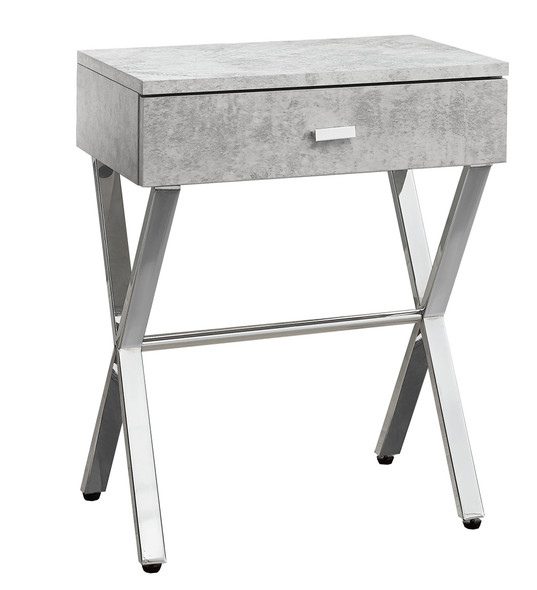 """12"""" x 18.25"""" x 22.25"""" Grey, Chrome, Particle Board, Metal - Accent Table"""