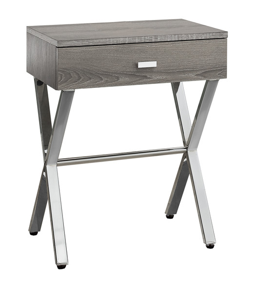 """12"""" x 18.25"""" x 22.25"""" Dark Taupe, Chrome, Particle Board, Metal - Accent Table"""