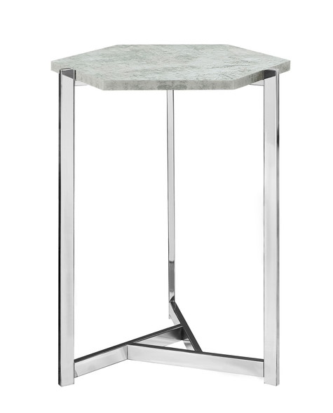 """18.25"""" x 21"""" x 24"""" Grey, Particle Board, Metal - Accent Table"""