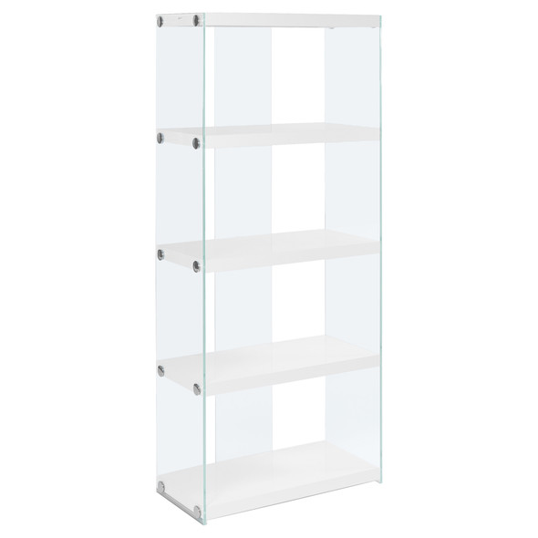"12"" x 24"" x 58.75"" White, Clear, Particle Board, Tempered Glass - Bookcase"