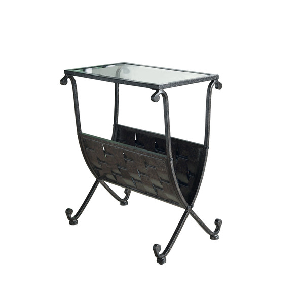 "11.5"" x 18.5"" x 22"" Black, Taupe, Metal, Tempered Glass - Accent Table"