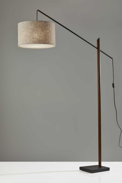 "17"" X 56"" X 76.5"" Black Wood/Metal Arc Lamp"