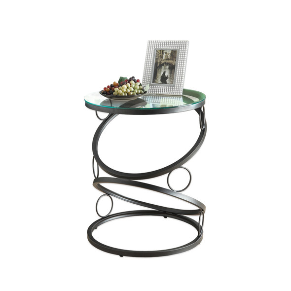 """20"""" x 20"""" x 24.25"""" Black, Clear, Metal, Tempered Glass - Accent Table"""