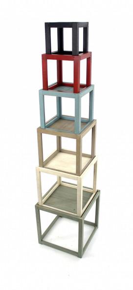 "16.5"" x 16.5"" x 71"" Multi-Color, 6 Layer, Rustic Tower-Like, Wooden - Corner Shelf"