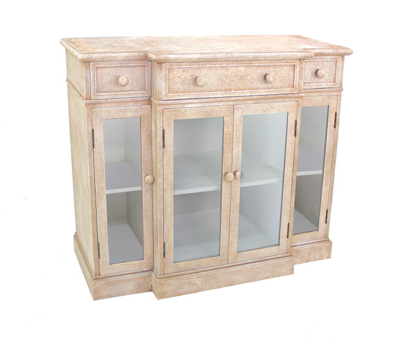 "14"" x 42"" x 34"" Beige, Vintage, French Style, Distressed - Hallway Cabinet"
