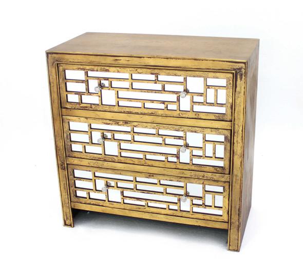 "15"" x 32"" x 32"" Gold, 3 Drawer, Vintage, Wooden - Cabinet"
