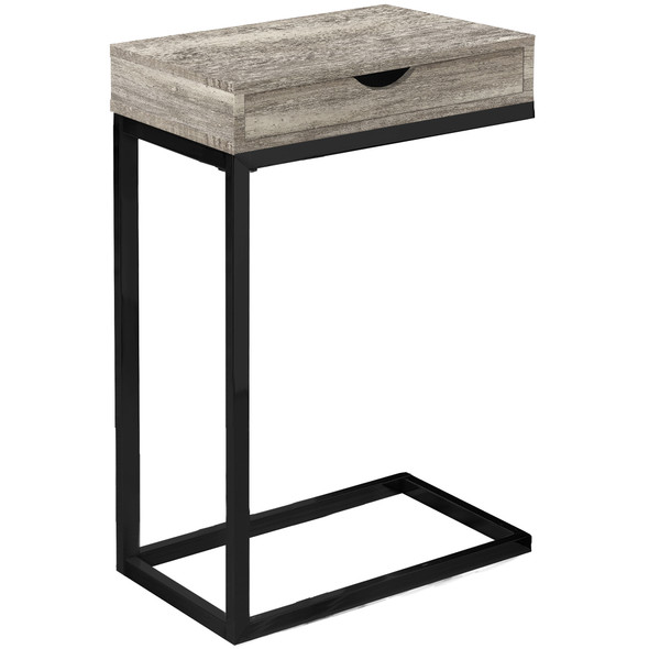 "10.25"" x 15.75"" x 24.5"" Taupe, Black, Particle Board, Drawer - Accent Table"