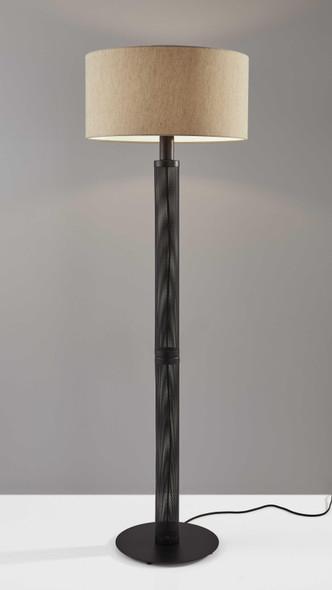 """19.75"""" X 19.75"""" X 61.5"""" Black Metal Floor Lamp"""