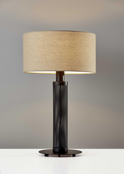 "15"" X 15"" X 24.75"" Black Metal Table Lamp"