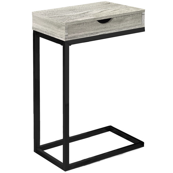 "10.25"" x 15.75"" x 24.5"" Grey, Black, Particle Board, Drawer - Accent Table"