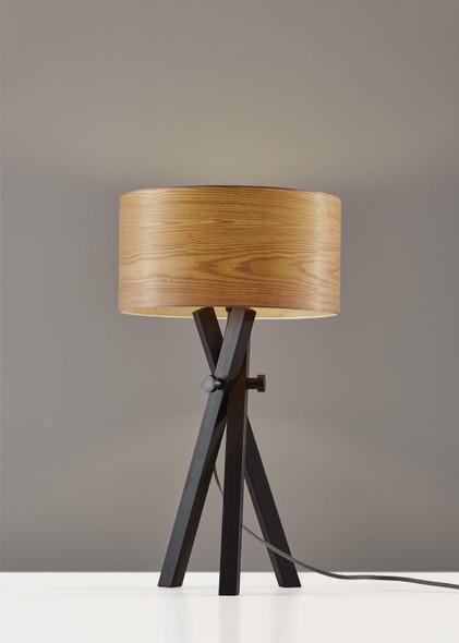 "15"" X 15"" X 26.5"" Black Wood/Metal Table Lamp"