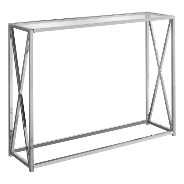 "12"" x 42.25"" x 32.25"" Chrome, Clear, Metal, Tempered Glass - Accent Table"