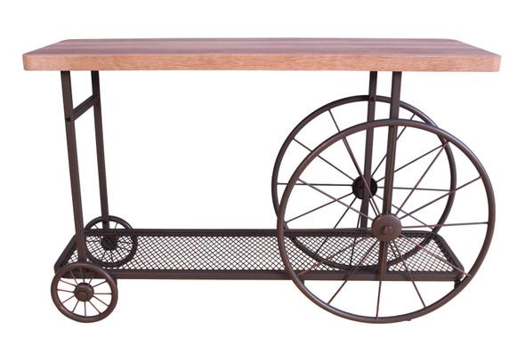 "49"" X 15.55"" X 29.9"" Oak And Antique Gray Metal Tube Sofa Table"