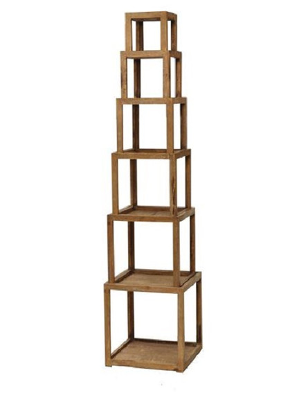 "16"" x 16"" x 72"" Brown, 6 Layer, Rustic Tower-Like, Wooden - Corner Shelf"
