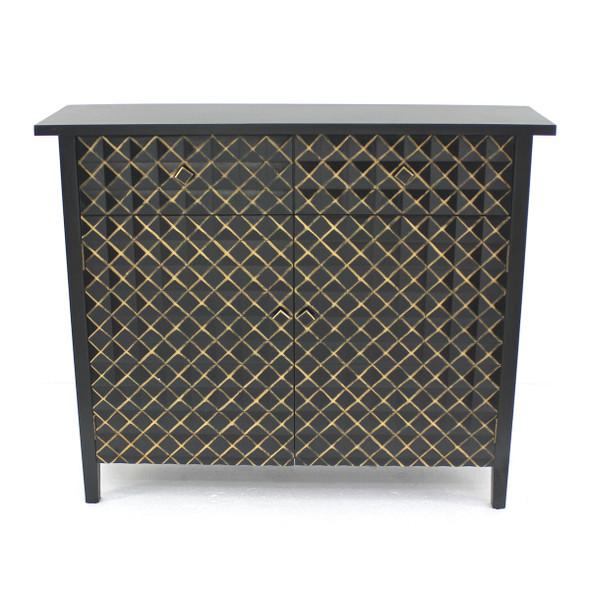 """12"""" x 43"""" x 36"""" Black amp; Gold, Vintage, Drawer - Cabinet"""