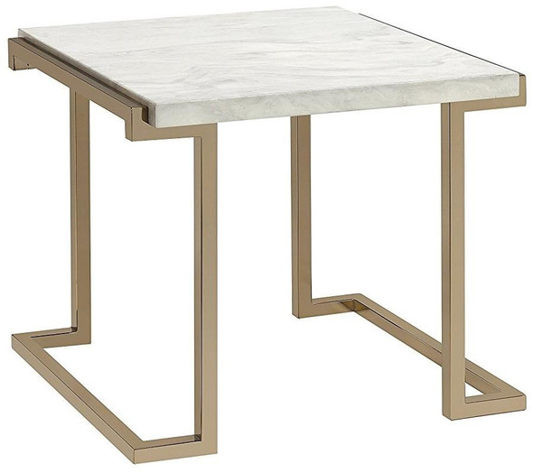 """24"""" X 22"""" X 22""""Faux Marble Champagne End Table"""