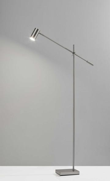 """6.5"""" X 22.5- 30.5"""" X 58""""- 63"""" Brushed Steel Metal LED Floor Lamp"""