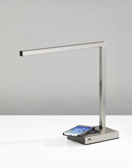 "5"" X 16.5"" X 16"" Brushed Steel Metal LED Desk"