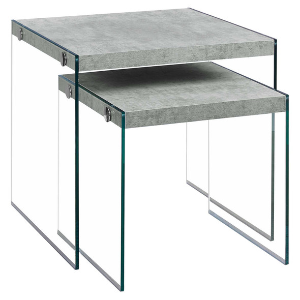 """35.5"""" x 35.5"""" x 35.5"""" Grey, Clear, Particle Board, Tempered Glass - 2pcs Nesting Table Set"""