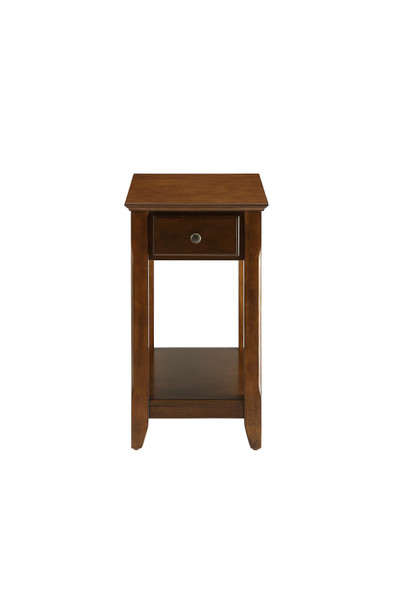 "13"" X 22"" X 23"" Walnut Wood Veneer Side Table"