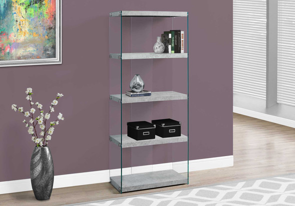 "60"" Grey Cement Particle Board and Clear Tempered Glass Bookcase"