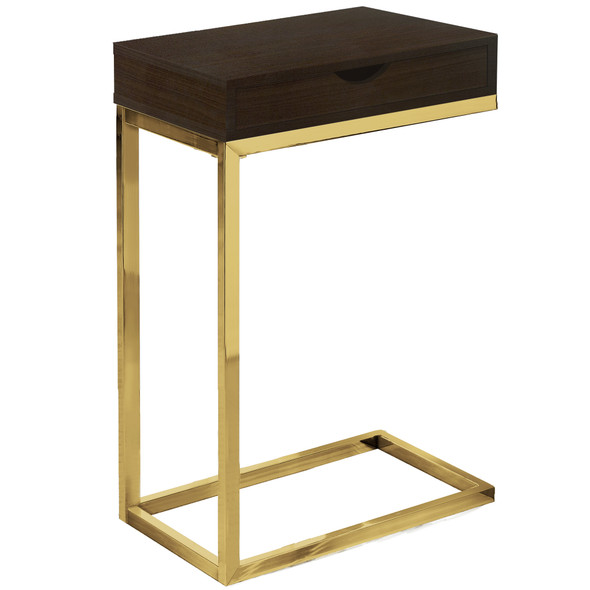 "10.25"" x 15.75"" x 24.5"" Cappuccino, Gold, Laminate, Particle Board, Drawer - Accent Table"