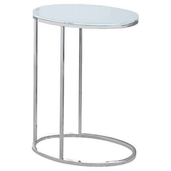 """18.5"""" x 12"""" x 24.5"""" Chrome, Metal, Tempered Glass - Accent Table"""