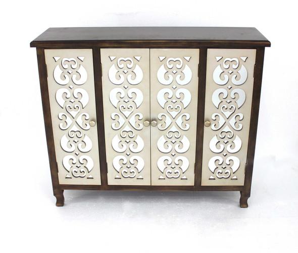"12"" x 42"" x 37"" Brown amp; Silver, 4 Door, Wood - Accent Cabinet"