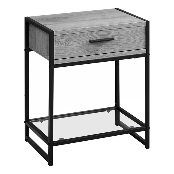 """12"""" x 18"""" x 22"""" Grey/Black Metal, Tempered Glass - Accent Table"""