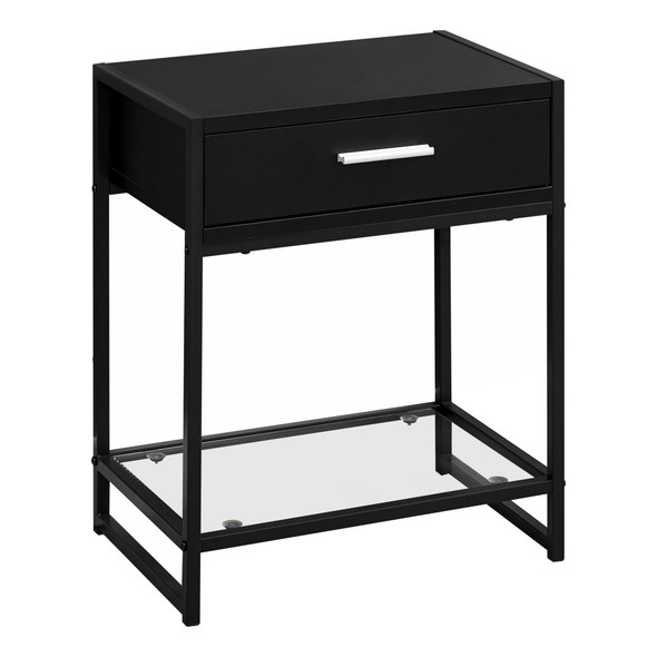 """12"""" x 18"""" x 22"""" Black/Black Metal, Tempered Glass - Accent Table"""
