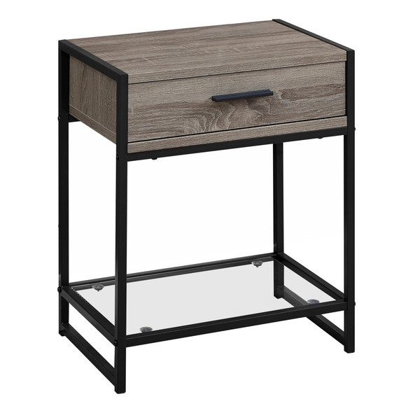 """12"""" x 18"""" x 22"""" Dark Taupe/Black, Tempered Glass - Accent Table"""
