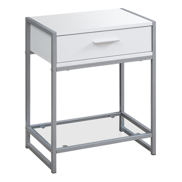 """12"""" x 18"""" x 22.25"""" White, Clear, Silver, Metal, Tempered Glass - Accent Table"""