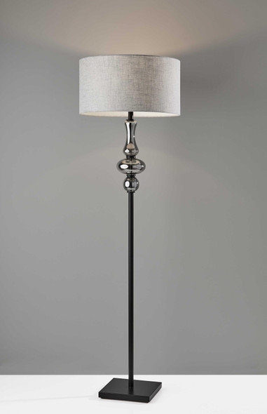 "19"" X 19"" X 65.5"" Black Metal Glass Fabric Floor Lamp"