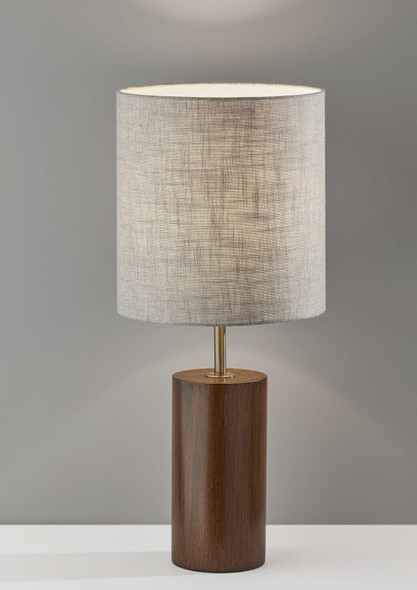 "13"" X 13"" X 30.5"" Walnut Wood Table Lamp"