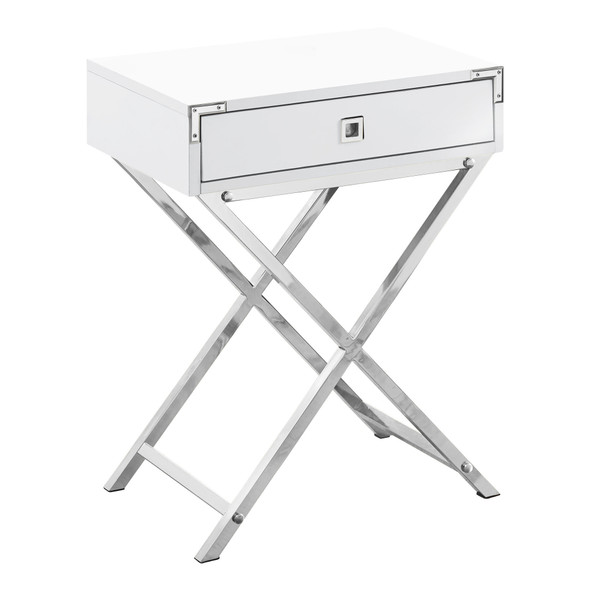 """12"""" x 18.25"""" x 24"""" White, Mdf, Metal, Particle Board - Accent Table"""