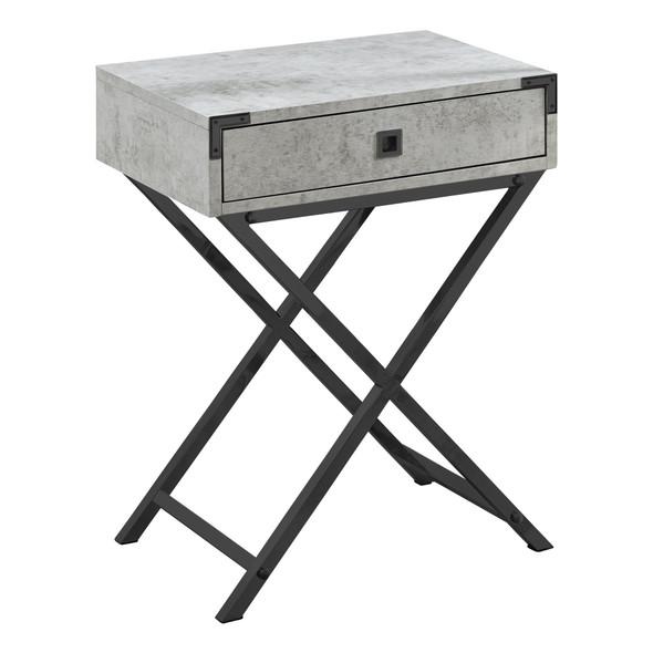 "12"" x 18.25"" x 24"" Grey Cement/Black Nickel Metal- Accent Table"