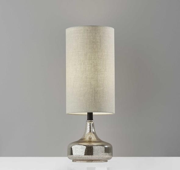 "8.5"" X 8.5"" X 23.75"" Black Metal/Glass Table Lamp"