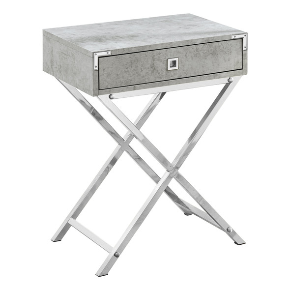 """12"""" x 18.25"""" x 24"""" Grey Cement/Chrome Metal - Accent Table"""