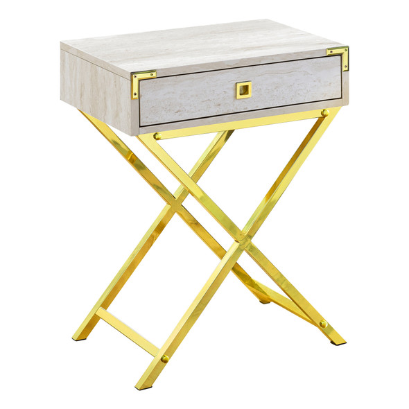 """12"""" x 18.25"""" x 24"""" Beige Marble/Gold Metal- Accent Table"""