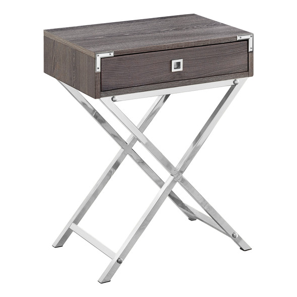 """12"""" x 18.25"""" x 24"""" Dark Taupe, Metal, Particle Board - Accent Table"""