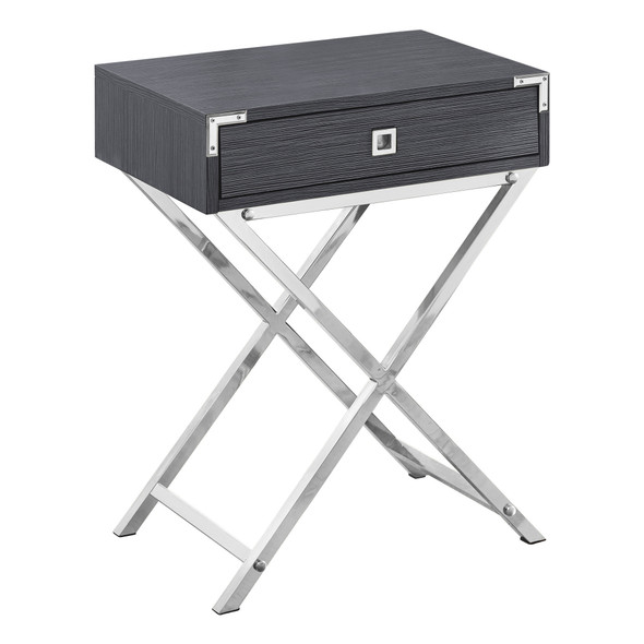 """12"""" x 18.25"""" x 24"""" Grey, Metal, Particle Board - Accent Table"""