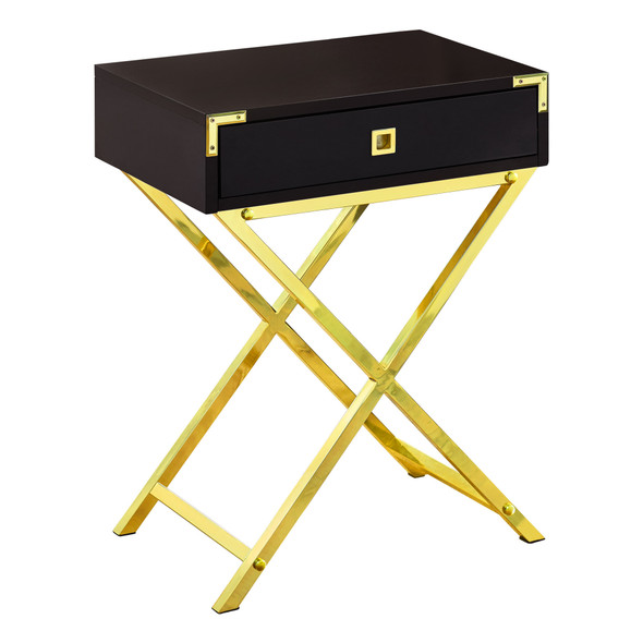 """12"""" x 18.25"""" x 24"""" Cappuccino, Gold, Metal, Particle Board - Accent Table"""