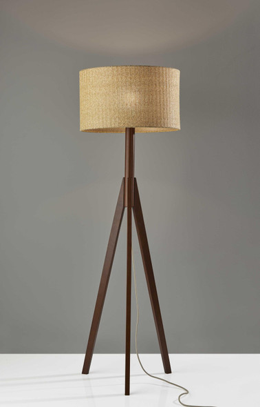 "18.5"" X 18.5"" X 59"" Walnut Wood Floor Lamp"