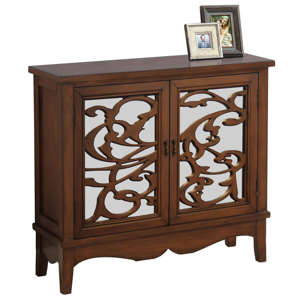 "11"" x 36"" x 32"" Walnut - Accent Chest With Mirrored Glass - 333270"