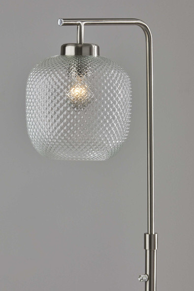 "10"" X 13.5"" X 60.25"" Brushed steel Metal Floor Lamp"