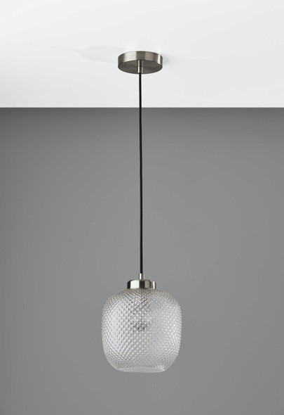 "8.625"" X 8.625"" X 10.5"" Brushed steel Glass/Metal Pendant"