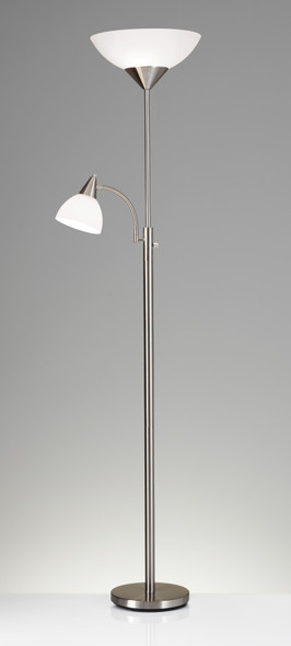 """22"""" X 14"""" X 71"""" Brushed steel Metal 300W Combo Torchiere"""