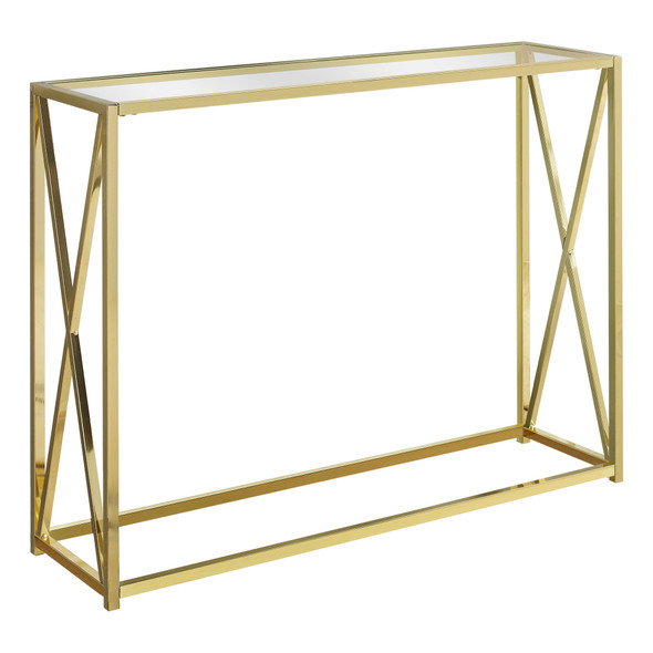 "12"" x 42.25"" x 32.25"" Gold, Clear, Metal, Tempered Glass - Accent Table"