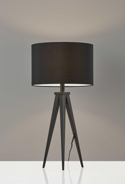 "14"" X 14"" X 28"" Black Metal Table Lamp"